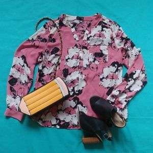 Floral Pink, Black and White Limited Blouse